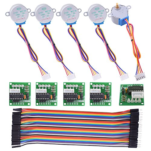 Arduino Motor Bestseller 2020: Kuman Stepper Motor for arduino 5 sets 28BYJ-48 ULN2003 5V Stepper Motor + ULN2003 Driver Board + Dupont Wire 40pin Male to Female Breadboard Jumper Wires Ribbon Cables K67