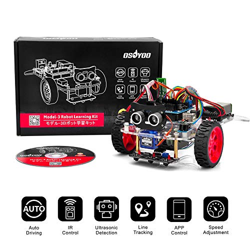 Arduino Starter Kit Bestseller 2020: OSOYOO Model 3 Robot Car DIY Starter Kit for Arduino UNO | Remote Control App Educational Motorized Robotics for Building Programming Learning How to Code | IOT Mechanical Coding for Kids Teens Adults