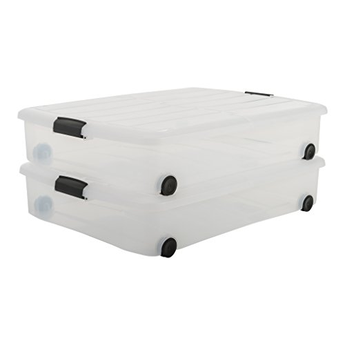 Bettkasten Aufbewahrung Bestseller 2020: IRIS, 2er-Set Unterbettboxen / Rollerboxen / Aufbewahrungsboxen 'Carry Stocker Under Bed Box', CS-U800, mit 4 Rollen, zweiseitig bedienbarer Deckel, Plastik, transparent, 50 L, 75 x 56 x 15,7 cm