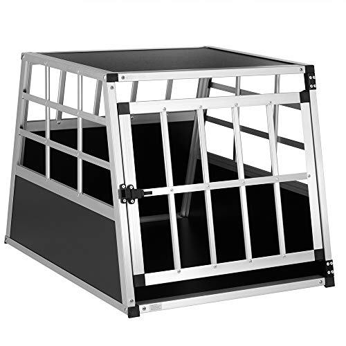 Hundetransportbox Bestseller 2021: Cadoca Hundetransportbox M robust verschließbar aus Aluminium Autotransportbox Tiertransportbox 70x54x51cm