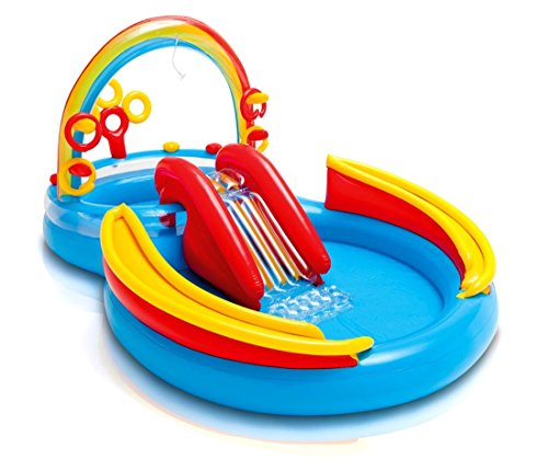 Intex Kinderpool Bestseller 2021: Intex Rainbow Ring Play Center - Kinder Aufstellpool - Planschbecken - 297 x 193 x 135 cm -  Für 3+ Jahre