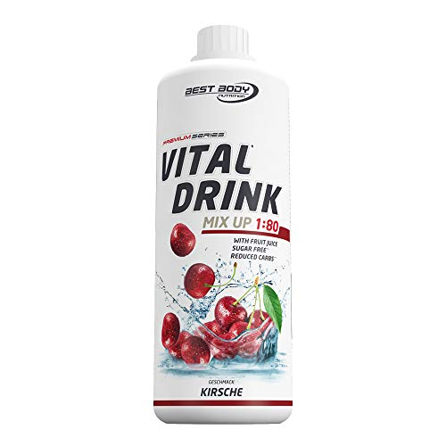 Low Carb Drink Bestseller 2020: Best Body Nutrition Vital Drink Kirsche, Getränkekonzentrat, 1000 ml Flasche