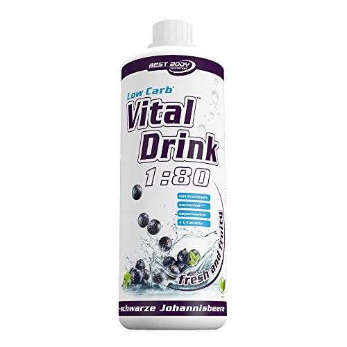 Low Carb Drink Bestseller 2020: Best Body Nutrition - Low Carb Vital Drink - schwarze Johannisbeere (1000ml Flasche)