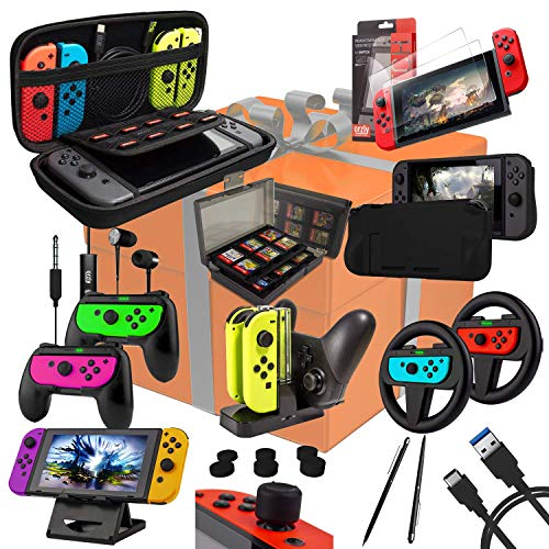 Intendo Switch Bestseller 2020: Switch Accessories Bundle - Orzly Geek Pack for Nintendo Switch: Case & Screen Protector, Joycon Grips & Racing Wheels, Switch Controller Charge Dock, Comfort Grip Case & More - JetBlack
