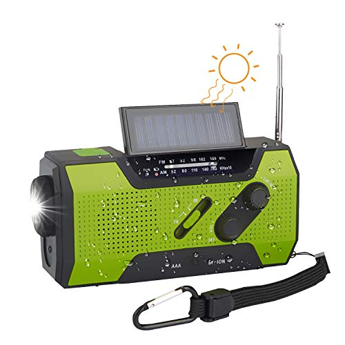 Outdoor Radio Bestseller 2020: TKOOFN Solar Dynamo Kurbel Radio FM AM, Tragbares Multifunktion Outdoor Novelty Notfallradio mit 2000mAh als Power Bank/Leselampe Alarm/SOS Signal