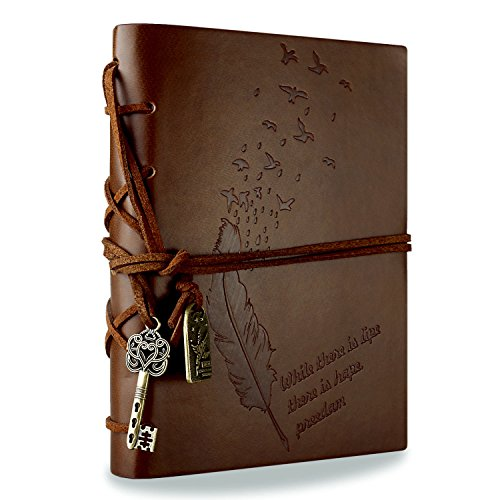 Schöne Ordner Bestseller 2019: Foonii Vintage Retro Leather Cover Notebook Klassische Travel Journal Tagebuch Leeren Kraft Notebook (Braun)