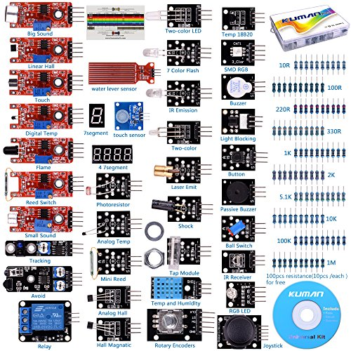 Sensoren Bestseller 2019: For arduino UNO R3 Mega2560 Nano Sensor Starter Kit Kuman 37 in 1 Arduino Compatible Learning Module for Raspberry Pi RPi 3 2 Model B B+ A A+ K5