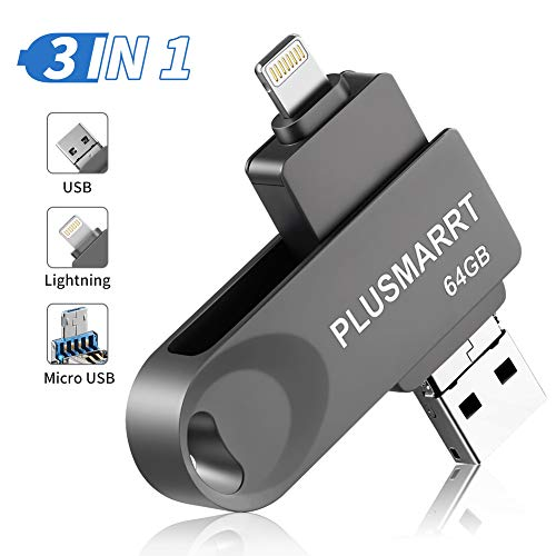 Usb Stick Iphone Bestseller 2020: PLUSMARRT USB Stick für iPhone, USB Stick 64G USB Speicher iPad Speichererweiterung für iPhone, iPad, Mac, Computer, Laptop, Grau