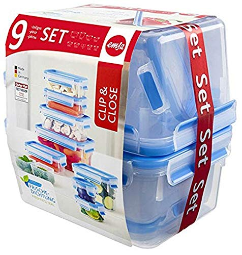 Vorratsdosenset Bestseller 2020: Emsa 515481 Food Clip & Close, Plastik, Transparent / Blau, Packung mit 9 Boxen